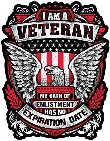 Skull Society I Am A Veteran My Oath of Enlistment Has No Expiration Date 7 Decal for Cars Motorcycles Laptops