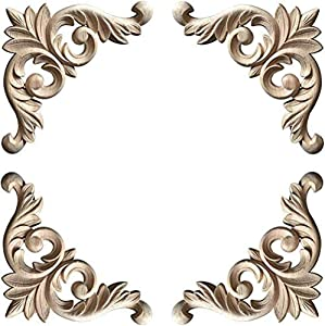 WINGOFFLY Wood Carved Onlay Corner Unpainted Applique Frame for Decoration Home Furniture Doors Windows Vintage 4 Pics(5.6