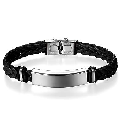 JewelryWe Bijoux Bracelet Homme Femme Polissage Gravure Personnaliser Tressé  Manchette Cuir Acier Inoxydable Fantaisie Couleur Noir b55133488140