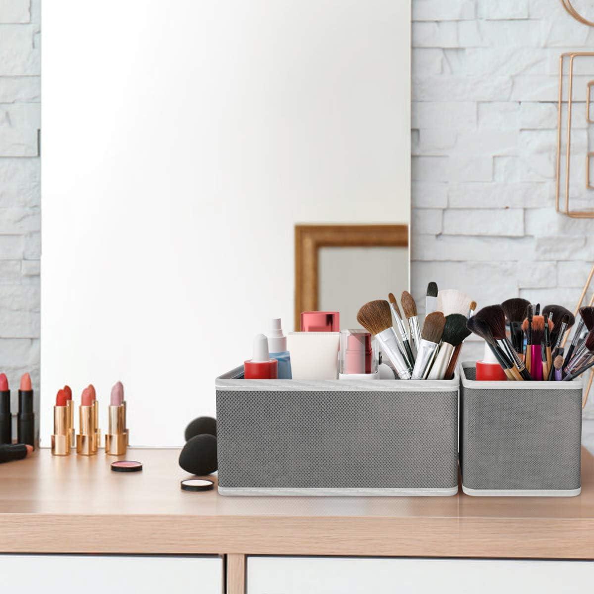 Grey Drawer Organiser Storage Box for Wardrobe Closet Cabinet Cupboard Dresser Foldable Fabric Storage Boxes Drawer Dividers Insert for Clothes Bras Underwear Socks Ties Toys Bathroom Set of 9