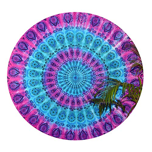 Mandala Round Roundie Beach Multi Tie Dye Multi Color Tapestry Hippy Gypsy Cotton Table Covers Hippie Boho Mandala Decor Meditation Yoga Mat Towel Bohemian Spread Cover Sheet Dining Round Table Cloths -