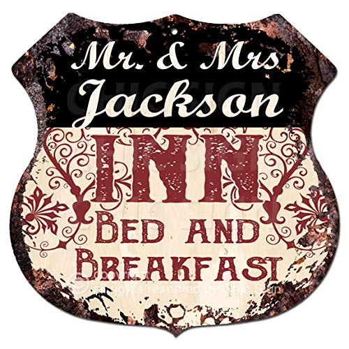 "Mr & Mrs Jackson INN Bed & Breakfast Custom Personalized Chic Tin Sign Vintage Retro 11.5""x 11.5"" Shield Metal Plate Store Home Man cave Decor Funny Gift ()"