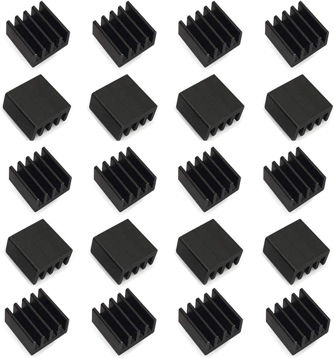 20 Pcs Mini Heatsink 8.8x8.8x5 mm / 0.35'' x 0.35'' x 0.20'' -Small Heat Sink for Cooling VRM Stepper Driver MOSFET VRam Regulators