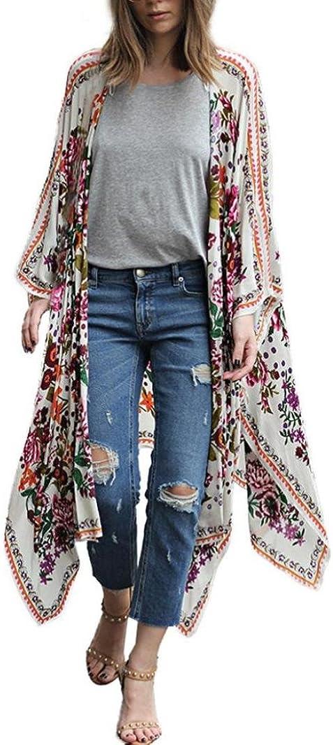 Kimono de Verano, Dragon868 Kimono Mujer Mujer Floral Gasa Suelta Kimono Bikinis Cubrir Camisas largas 2020