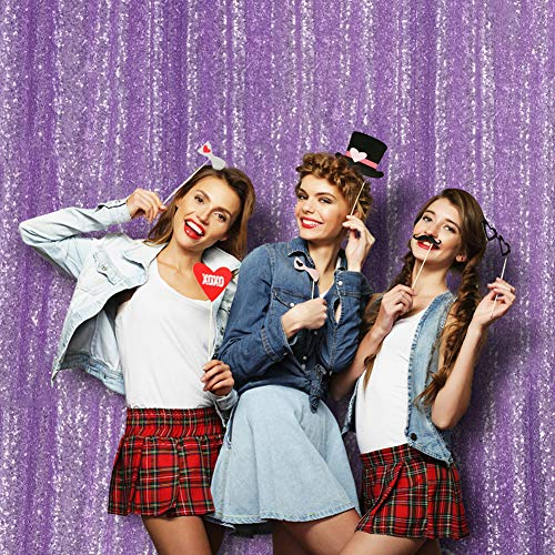 Poise3EHome Sequin Photo Booth Backdrop 6Ftx7Ft Sequin Fabric Photography Curtain for Wedding Baby Shower Party Birthday Christmas Prom Background and Other Event Home Decor, Lavender -