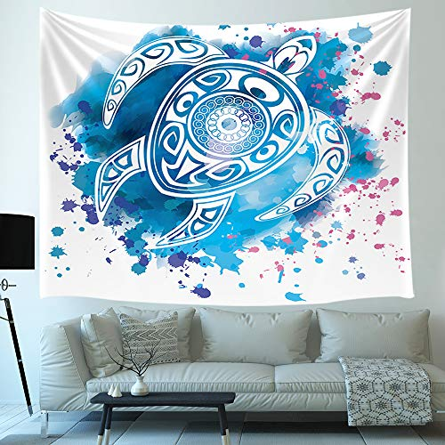 Watercolor Turtle Tapestry, Blue Totem sea Animal Ocean Decor Kid Art Wall Hanging for Bedroom Living Room College Dorm TV Backdrop Wall Blankets 71X60 - Animal Turtle Totem