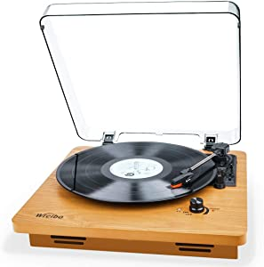 Wrcibo Record Player, Vintage Turntable 3-Speed Belt Drive Vinyl Player LP Record Player with Built-in Stereo Speaker, Aux-in, Headphone Jack, and RCA Output, Natural Wood