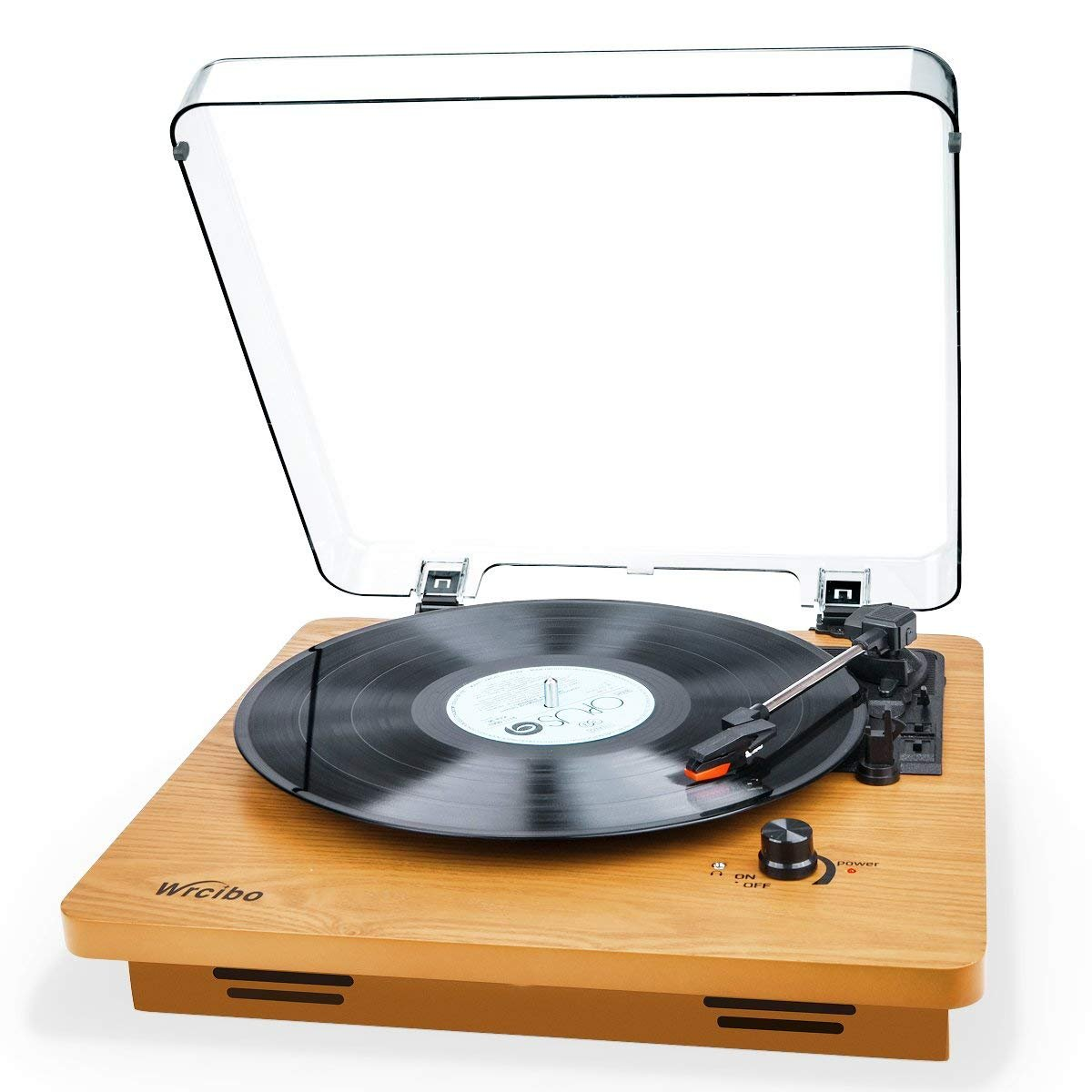 Wrcibo Record Player, Vintage Turntable 3-Speed Belt Drive Vinyl Player LP Record Player with Built-in Stereo Speaker, Aux-in, Headphone Jack, and RCA Output, Natural Wood by Wrcibo