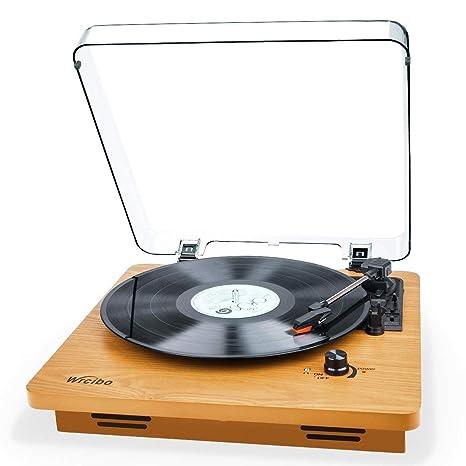 Wrcibo - Reproductor de discos de vinilo, retro, tocadiscos de 3 ...