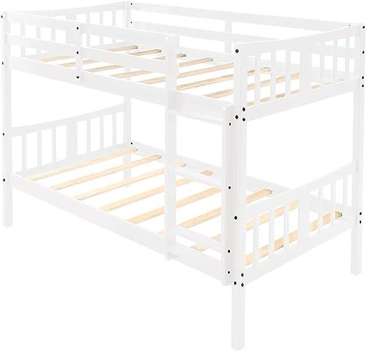 Litera Doble con Escalera de Madera Maciza y Barra de Seguridad para niños: Amazon.es: Hogar