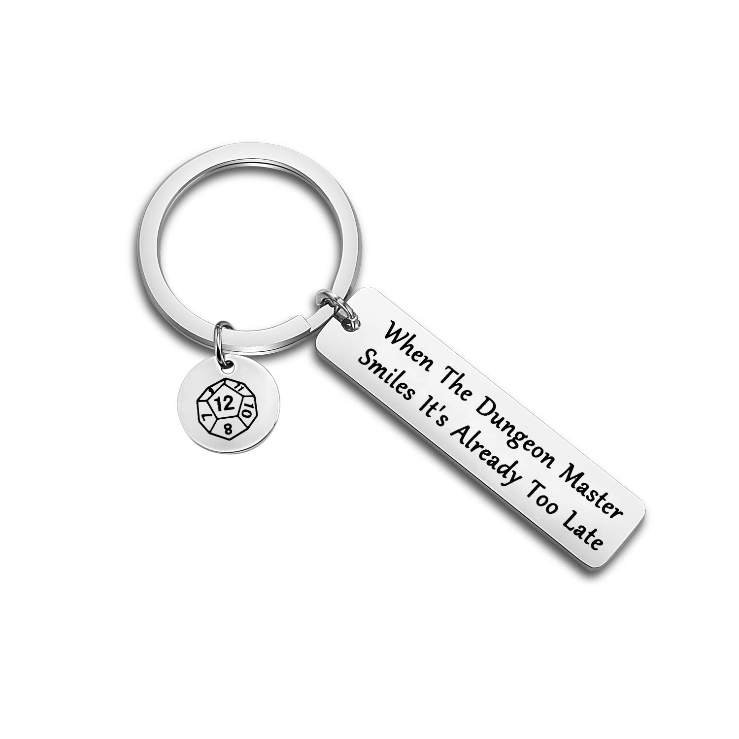 ENSIANTH When The Dungeon Master Smiles Its Already Too Late Keychain Dungeon Master Gift Funny Dungeons and Dragons Gifts