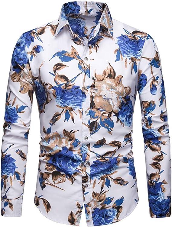 Allthemen - Camisa de algodón de manga larga con estampado floral para hombre, estilo informal, diseño único