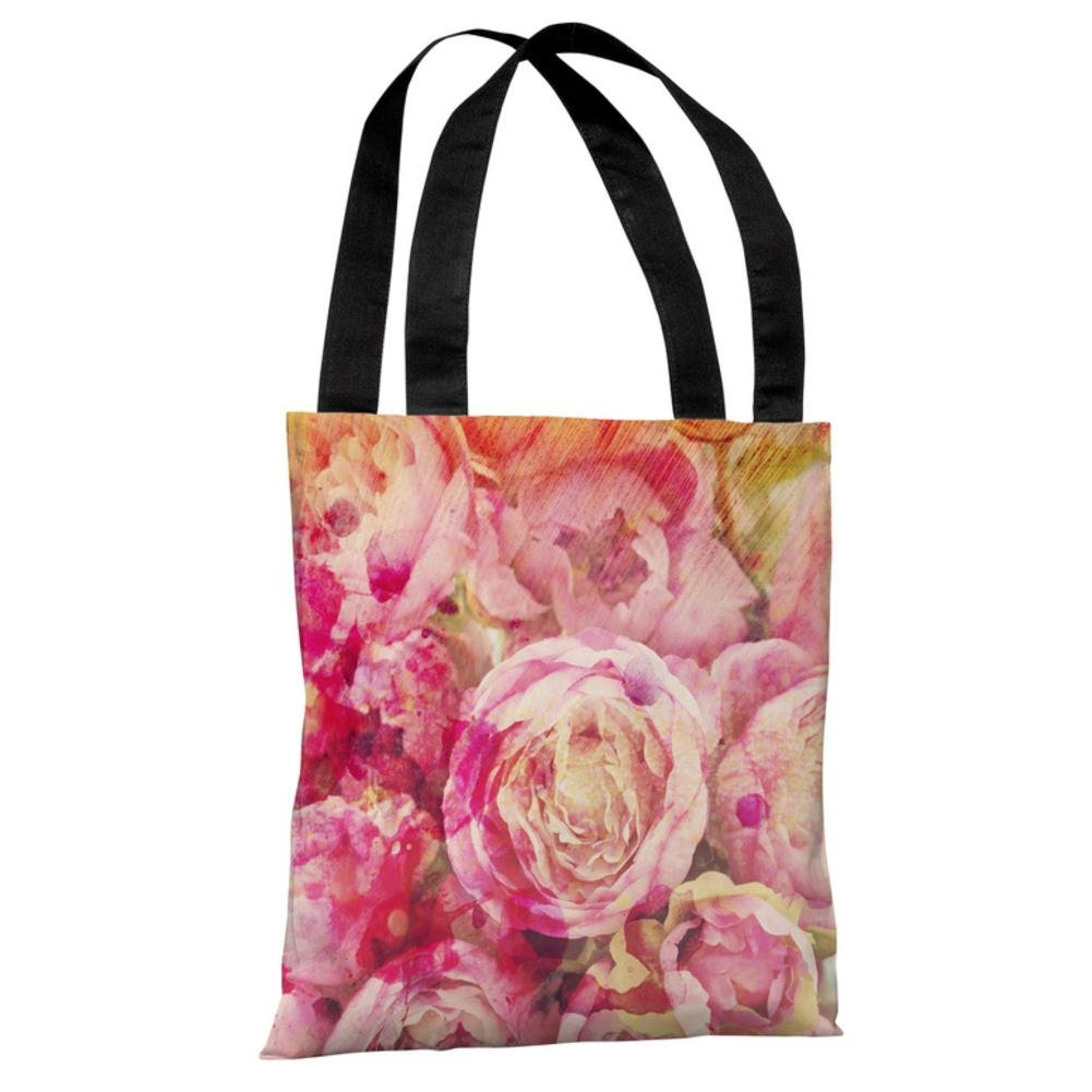 Peony Dreams Polyester Tote Bag44; Multi Color One Bella Casa 73713TT18P 18 in