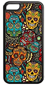 Sugar Skull Kaleidescope- Case for the APPLE IPHONE 5c ONLY-Hard Black Plastic Outer Case by icecream design