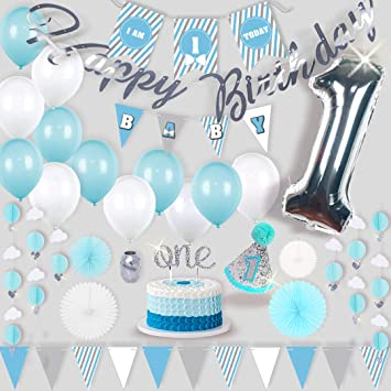 RainMeadow Premium 1st Birthday Boy Decorations