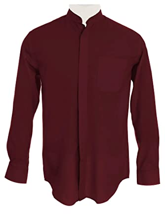 a1407f51 Sunrise Outlet Men's Collarless Banded Collar Dress Shirt - Burgundy 14.5  32-33