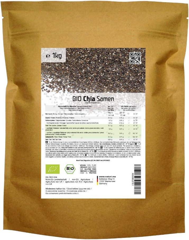 BIO las semillas de Chía («Salvia hispanica»)  1kg: Amazon.es: Alimentación y bebidas