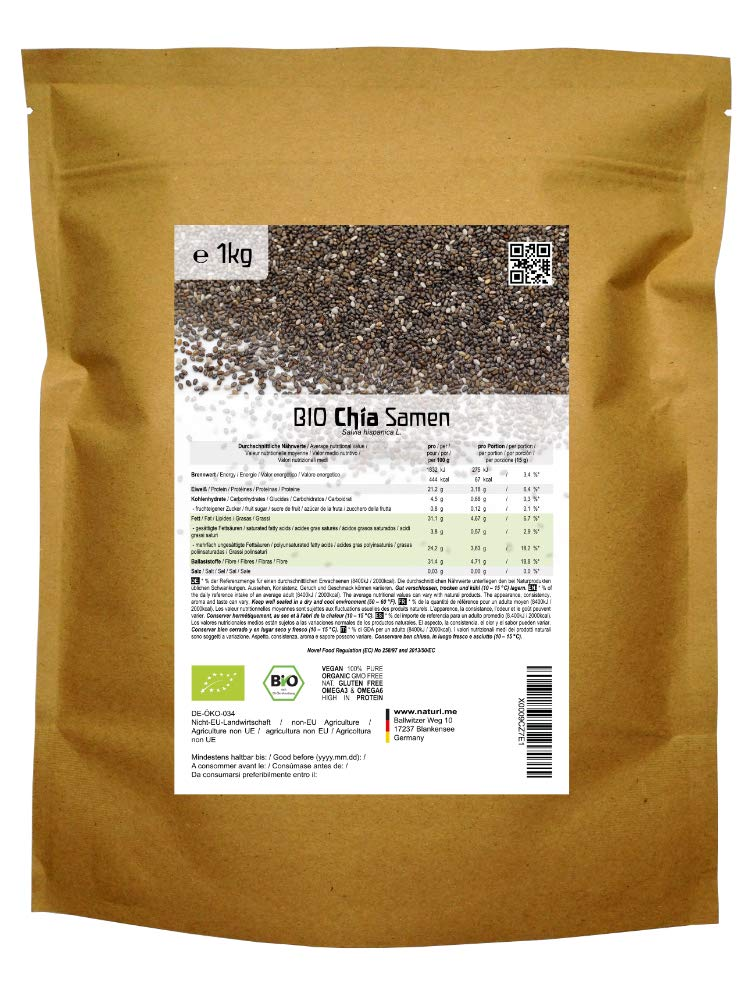 BIO las semillas de Chía («Salvia hispanica»)  1kg: Amazon.es ...