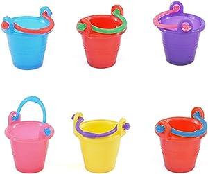 Walbest Miniature Buckets, 6 Pcs 1:12 Miniature Buckets Exquisite Simulation Plastic Handle Pails Mini Toy for Kids - Random Color.