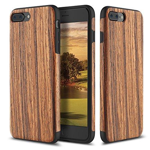 iPhone 7 Plus Case, ROCK [Grained] - Rose Wood [Origin][Non Slip] [Built-in Magnetic Metal Plate] [Wood Tactile] [Natural Wood and TPU Rubber] [Fingerprint Free] Case For Apple iPhone 7 Plus