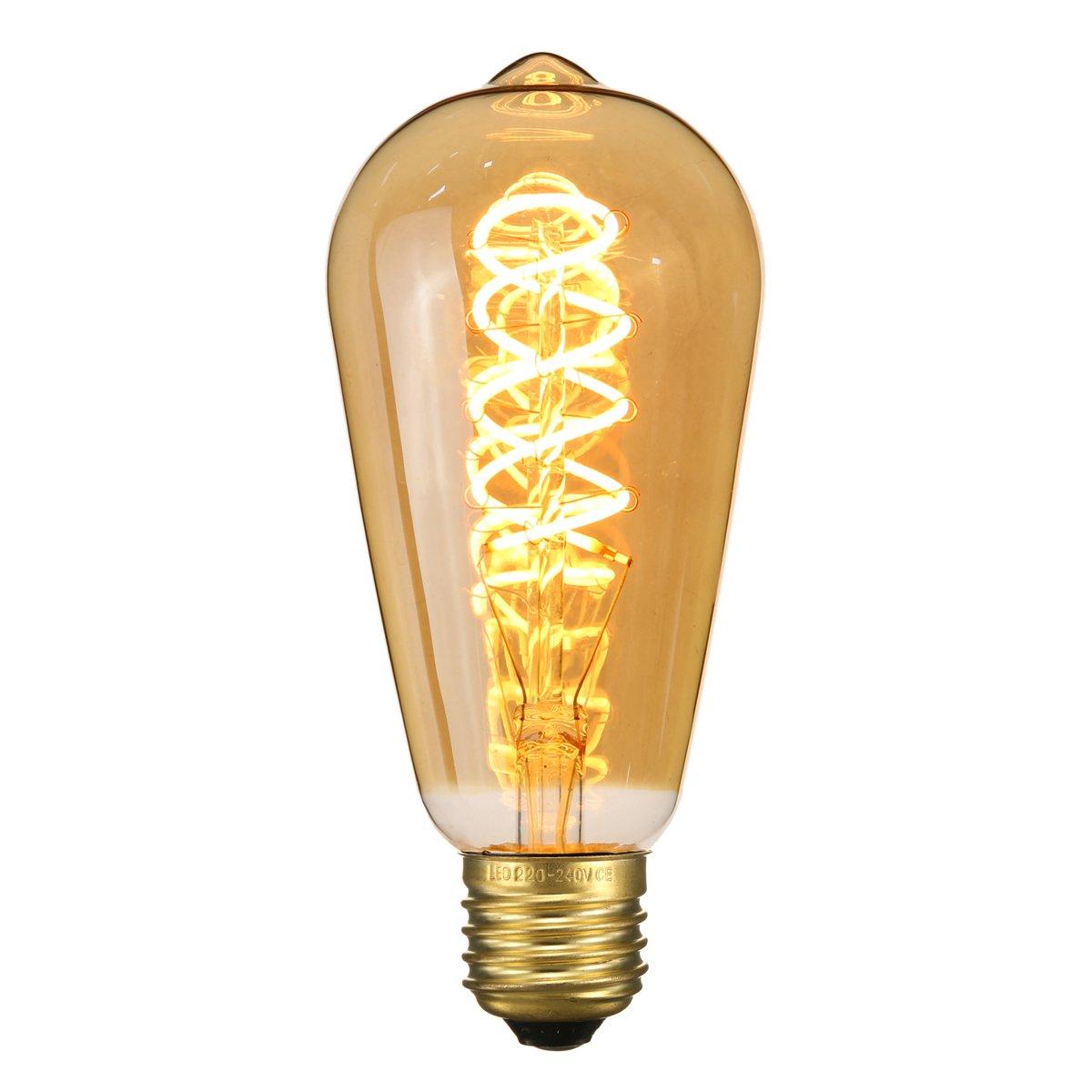 Elfeland Vintage LED Bulbs, E27 3W Spiral Double Twist Flexible LED Filament Decorative Edison Bulbs, Dimmable Warm White 2200K 180LM 85-220V Model ST64(φ 64mm) Dimmable Warm White 2200K 180LM 85-220V Model ST64(φ 64mm)