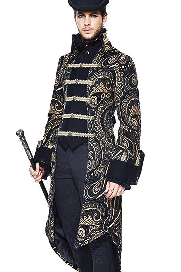 c8401aa27083ab Devil Fashion Mittelalterliche Vintage Edle Art Herren Lange Hülsen Jacke,  Viktorianischer Goldeleganter Eleganter Mantel,