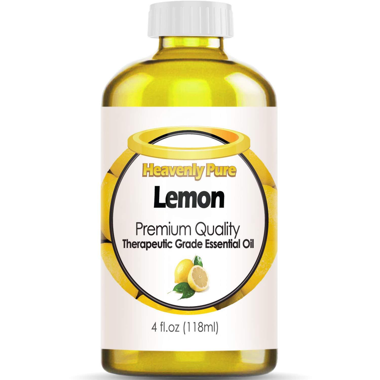 Heavenly Pure Lemon Essential Oil 100% Pure & Natural Lemon Aroma Therapeutic Grade Essential Oil (Huge 4 OZ - Bulk Size)