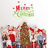 """Dnven (23""""w X 19""""h) Green and Red Merry Christmas Quotes Lettering Vinyl Words Graphic Wall Stickers Wall Decals Door Window Stickers Glass Decals for Kids Rooms Nursery Living Rooms Bedrooms"""
