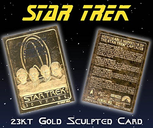 STAR TREK 4-Captains KIRK PICARD SISKO JANEWAY 23K Gold Card 30-Anniversary ()