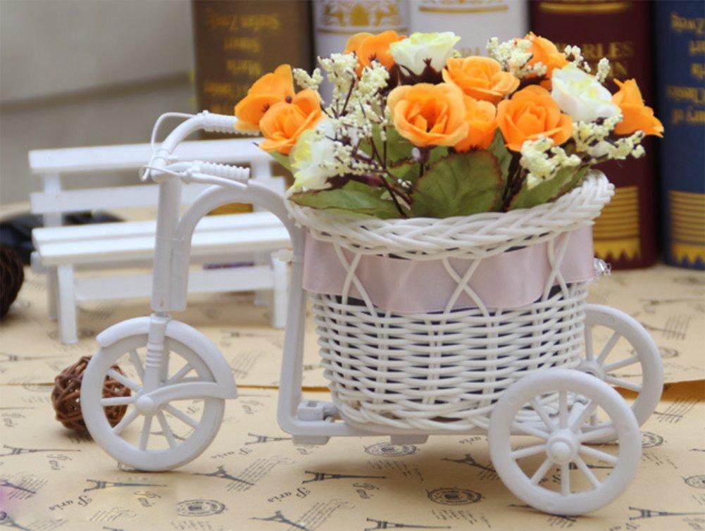 Couleurs Al/éatoire Cosanter 1 X Rattan Contexture Pots de Fleur Fait Main Mini v/élo Cr/éatif Plante Vase pour Plantes Fleurs Decor Maison