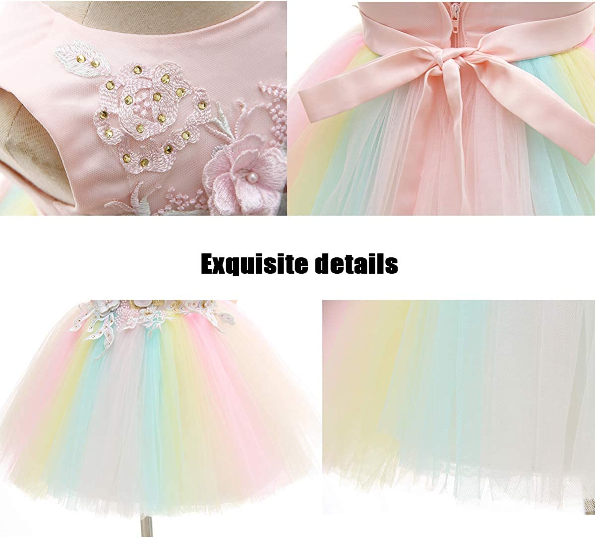 AHAHA Baby Girl Dresses Pink Princess Wedding Party Flower Dress for Baby 0-2 Years