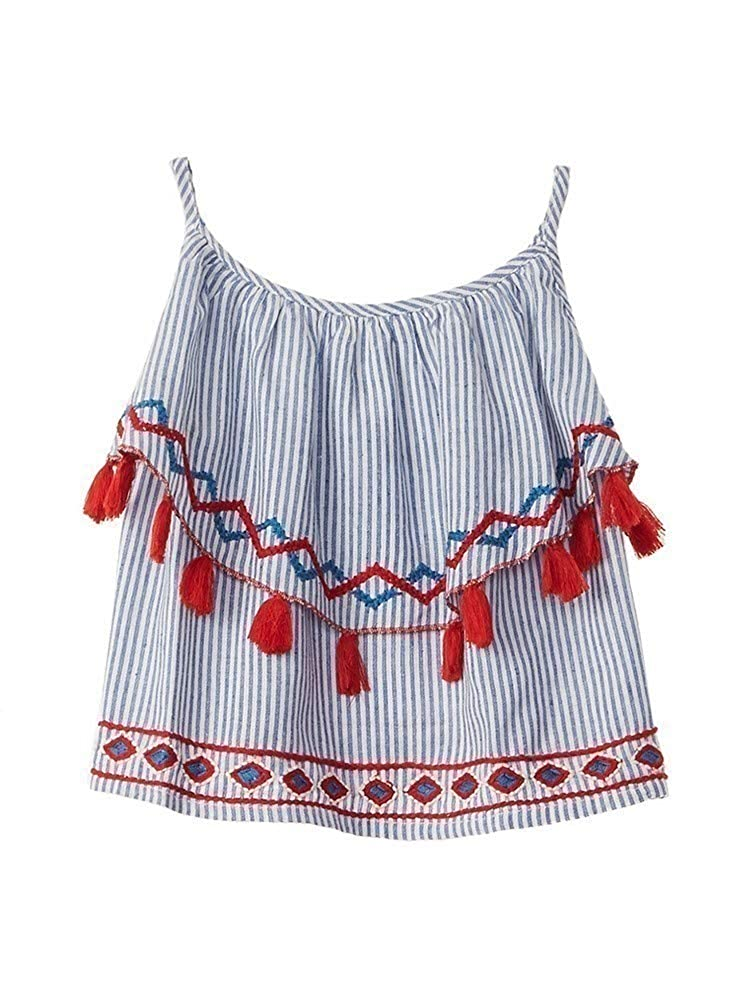 Azul Big Girls Blue Red Stripe Strike A Pose Ruffle Tassel Top 8-14