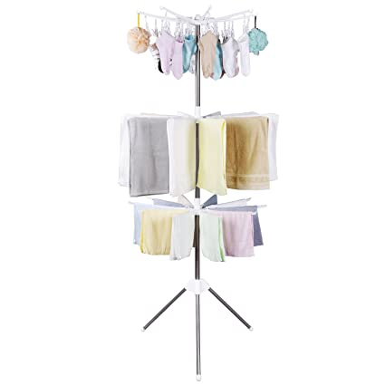 Etonnant Lifewit Foldable Clothes Drying Rack Portable 3 Tier Clothes Hanging Rack  With 24 Clips For