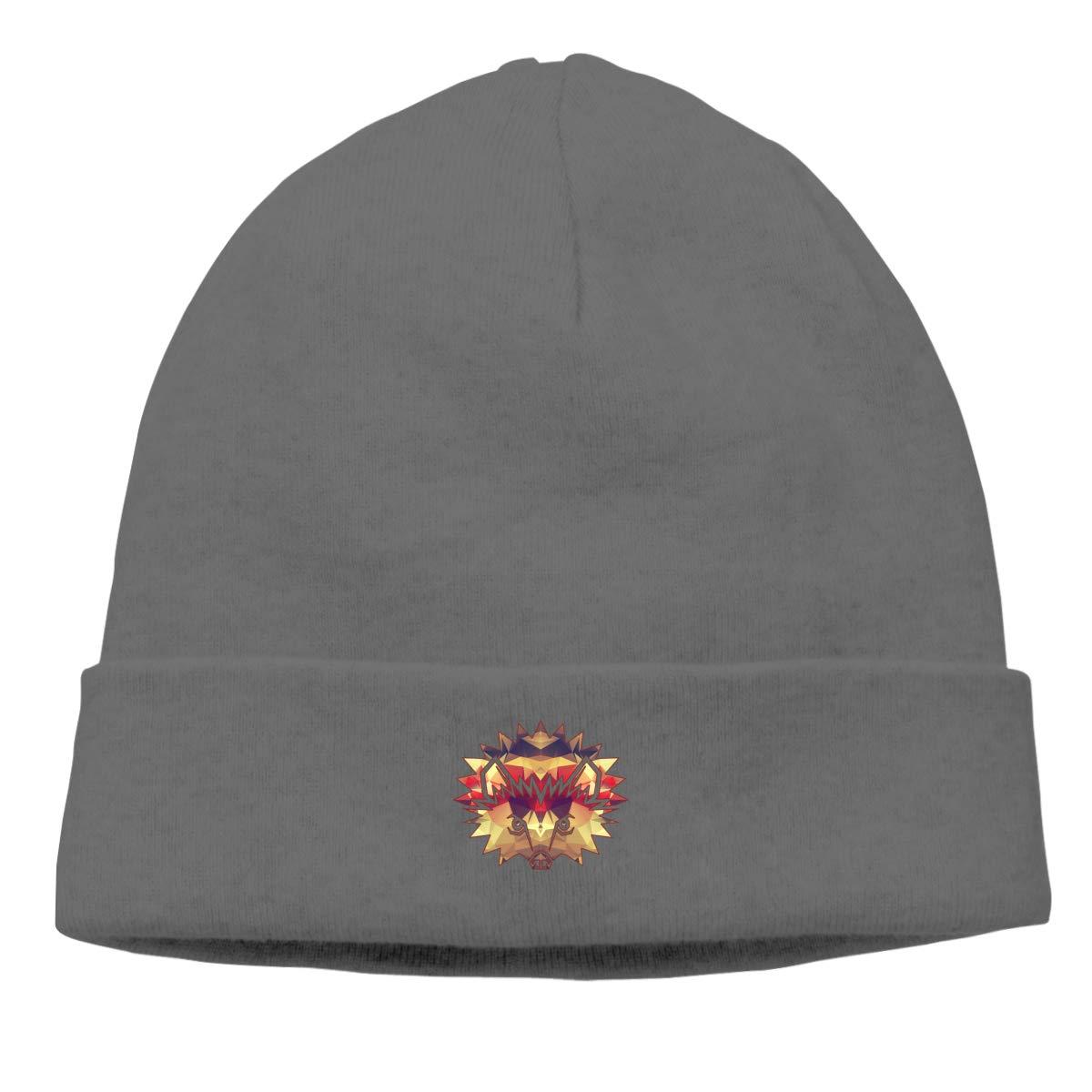Riokk az Hedgehog Geometric Knit Cap Knit Hats Skull for Mens Deep Heather