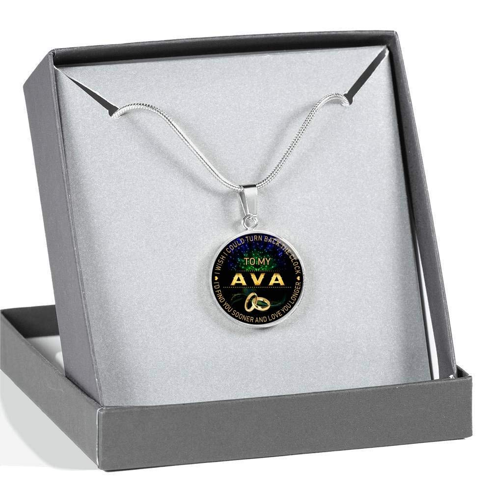 HusbandAndWife Gifts Necklace for Mom and Daughter to My Ava I Wish I Could Turn Back Clock I Will Find You Sooner Funnyd Charm Necklace Jewelry Gift for Women 18K Gold Plated