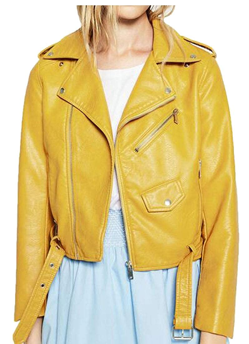Yellow MMCP Women Fall Winter Solid color Zip Front Belted Pu Leather Moto Biker Jacket Coat