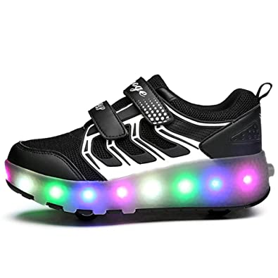 35fc342cf98c70 Ehauuo Black Light up Double Wheel Shoes Roller Shoes for Kids Girls Boys  USB Skate Sneakers
