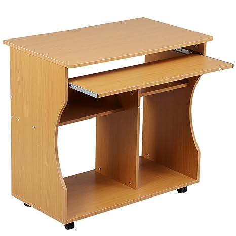 Yaheetech Mesa de Ordenador Mesa de Computadora Moderno con Ruedas para Oficina Hogar Mesa de Escritorio 80x 48 x 76 cm Beech Wood