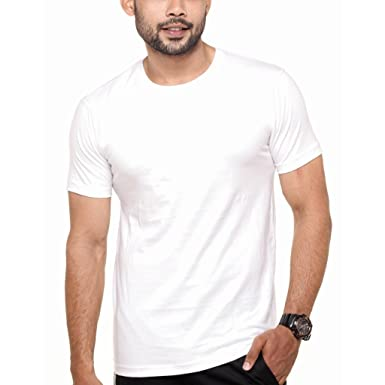 24d10efe3 FLEXIMAA Men's Round Neck Plain T-Shirt White Color: Amazon.in: Clothing &  Accessories