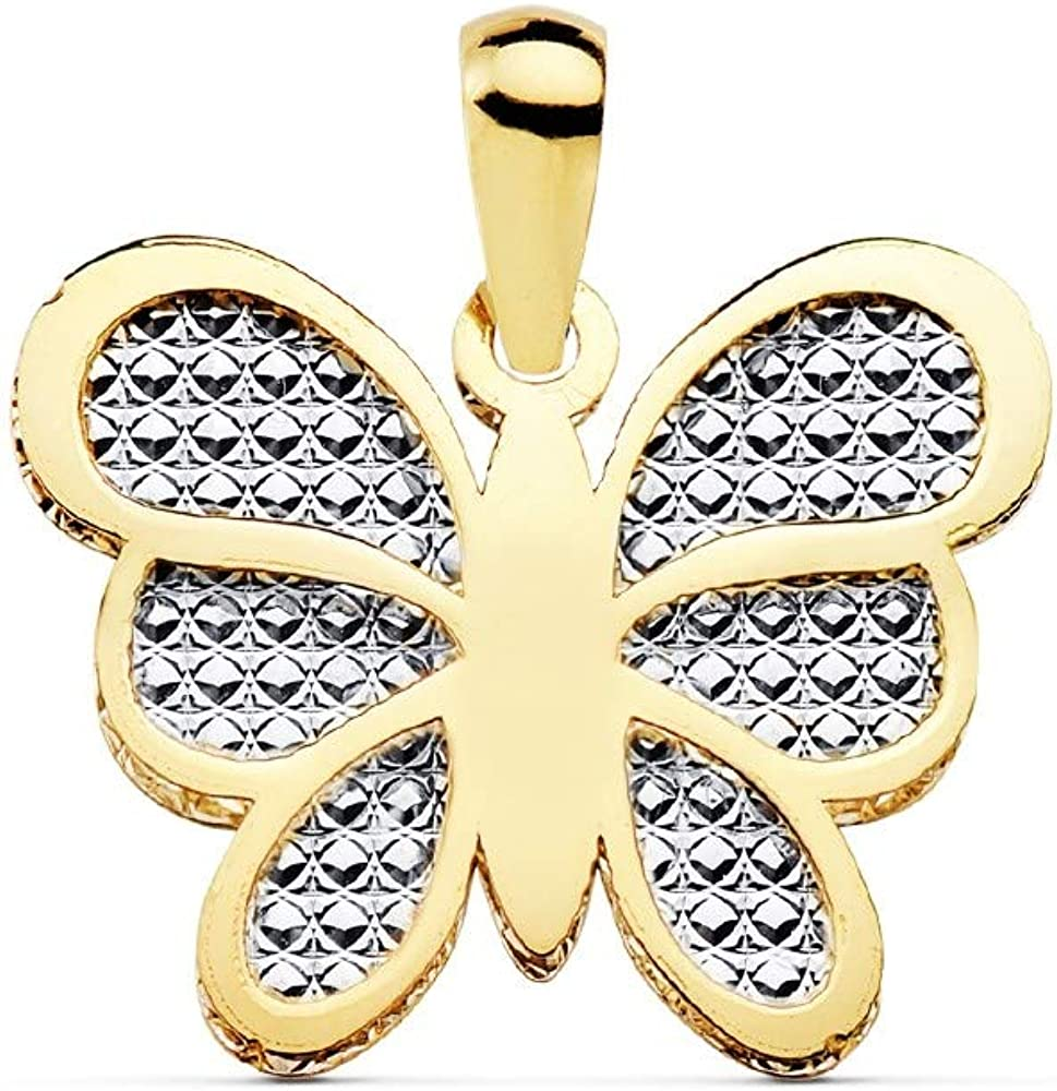 Colgante oro bicolor 18k motivo mariposa 17mm. centro tallado [AC0911]
