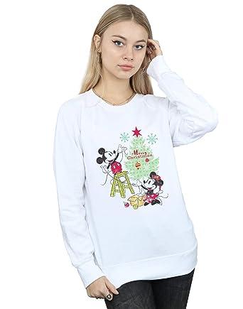 d639dacfcb1a Disney Damen Mickey and Minnie Christmas Tree Sweatshirt  Amazon.de   Bekleidung