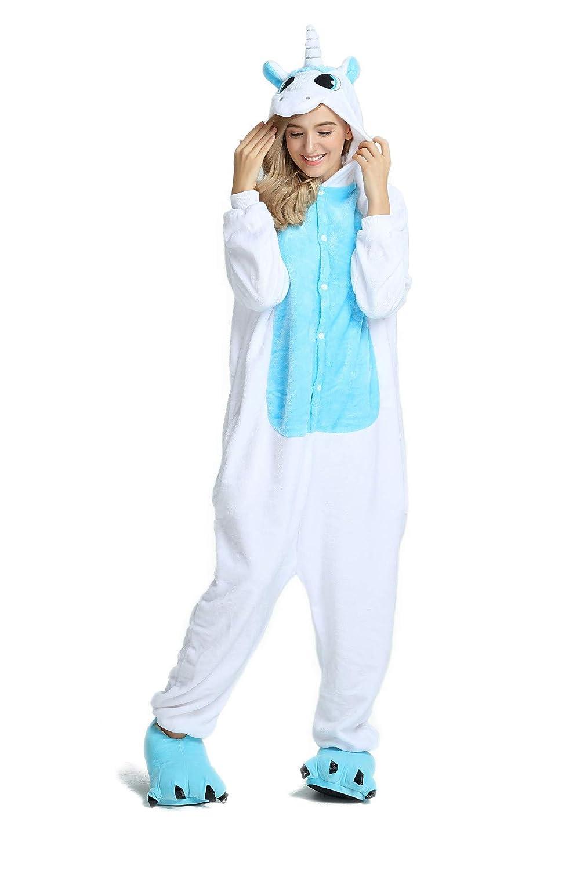 Hycomell Pijama Unicornio de Una Pieza Unisexo Adulto Tela de Franela Estilo de Dibujos Animados ActualizacióN Disfraces de Halloween Cosplay Carnaval ...
