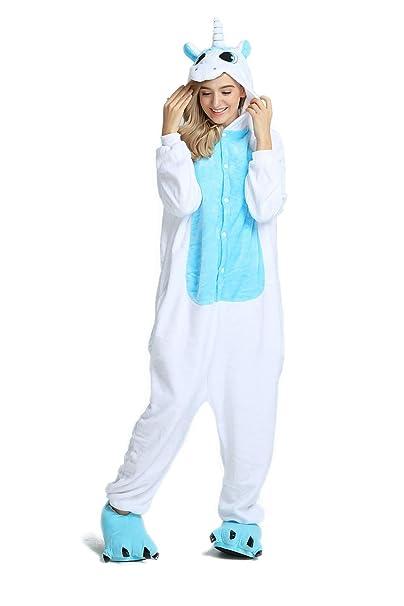 molto carino bb568 d264d Pigiama Unicorno Kigurumi Donna Uomo Aggiorna Flanella Cappuccio Pigiama  Tuta Intera Onesie Stitch Sleepwear Anime Costume per Compleanno Carnevale  ...