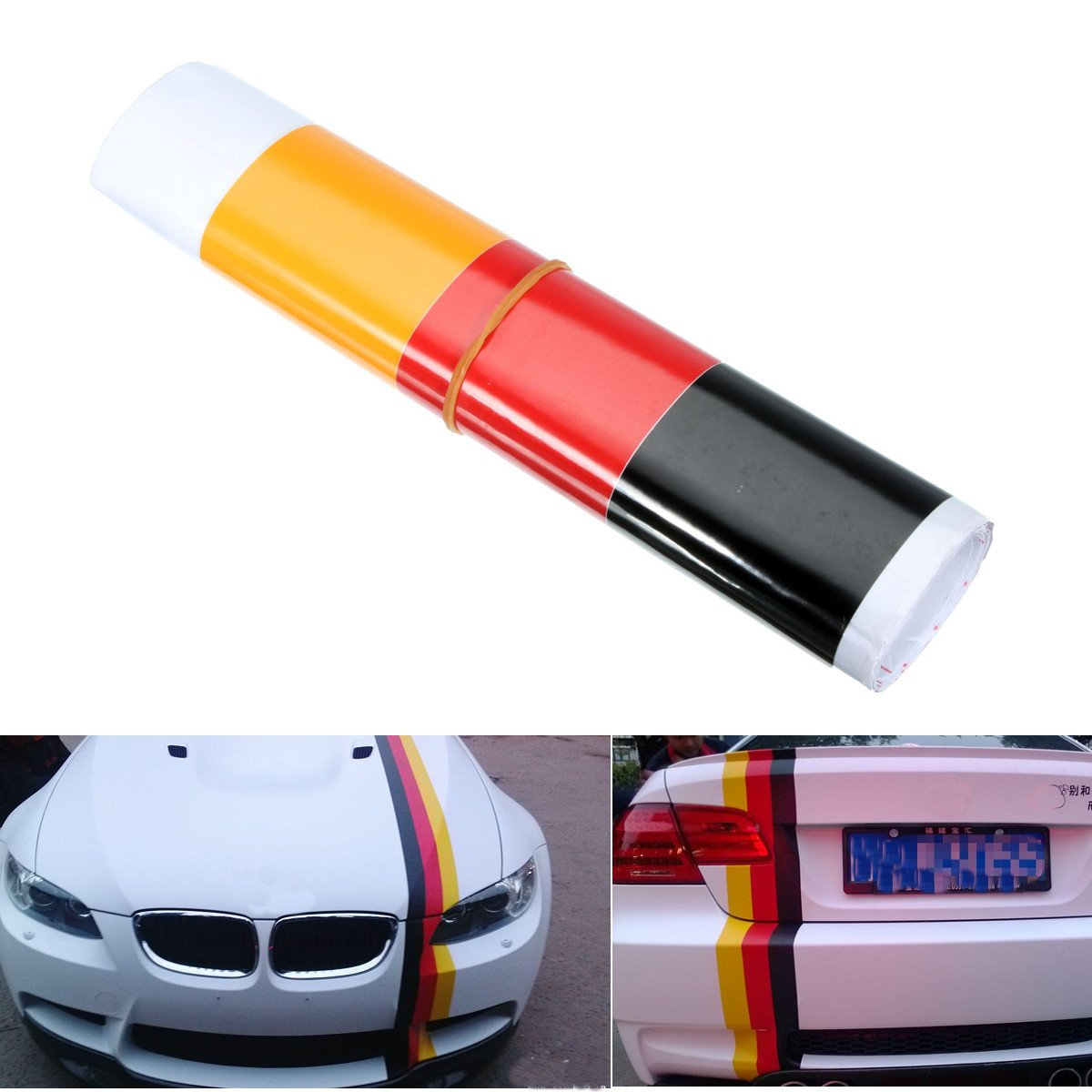 Yoton Exterior Accessories German Flag Style Auto Vehicle Bumper Stripes Sticker Decal Vinyl Car Stickers
