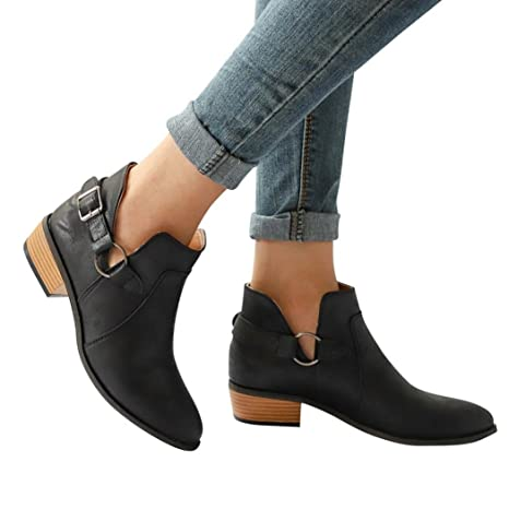 2093712eff9 Buckled Strap Booties Women Boots Pointed Toe Boots Low Block Heel Ankle  Boots (US:7, Black)