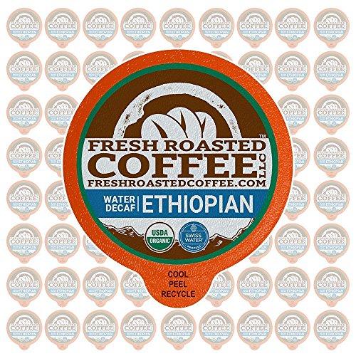 (Fresh Roasted Coffee LLC, Water Process Decaf Organic Ethiopian Sidamo Coffee Pods, Medium Roast, Fair Trade, USDA Organic, Capsules Compatible with 1.0 & 2.0 Single-Serve Brewers, 72 Count)