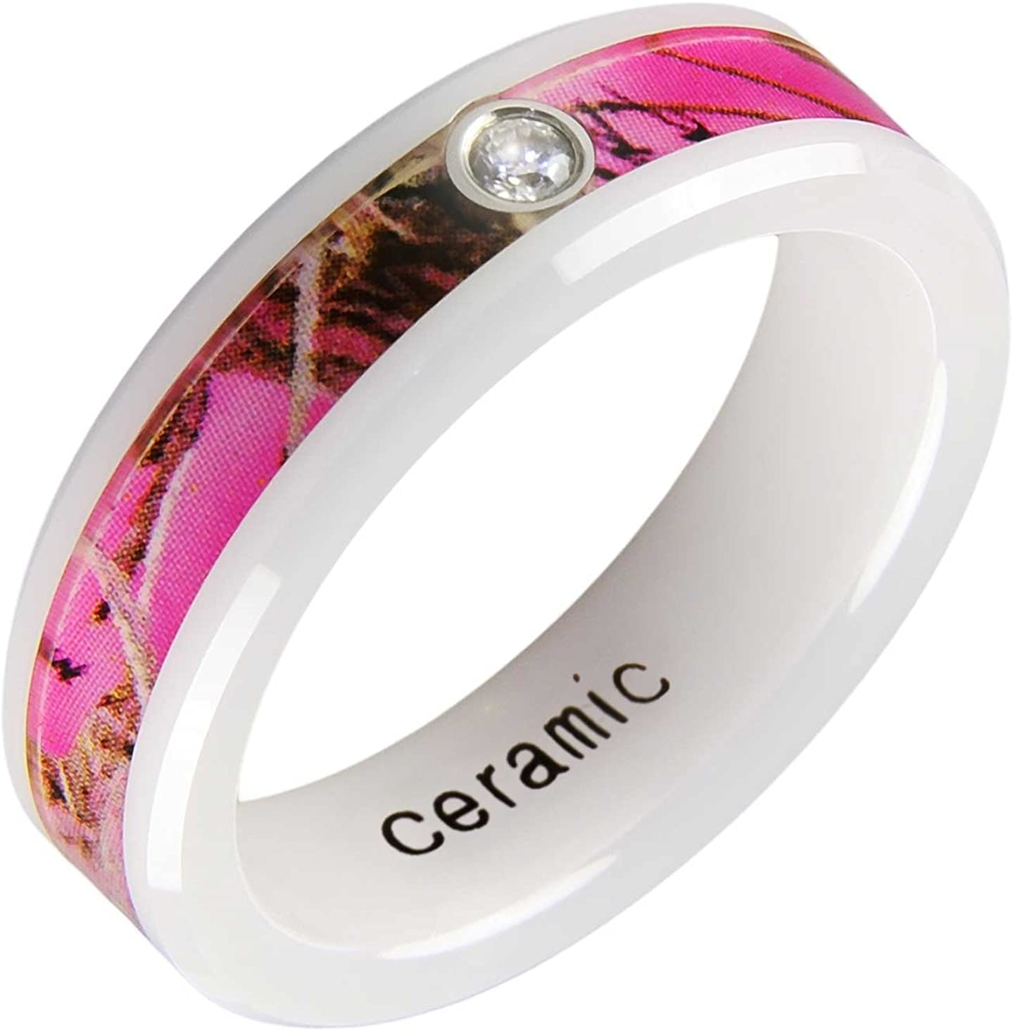 THE ICE EMPIRE JEWELRY, LLC Women Rifle Hunting Freedom Pink Forest Trees Mountain Hunter Camouflage Camo White Ceramic Band Ring Size 5-10