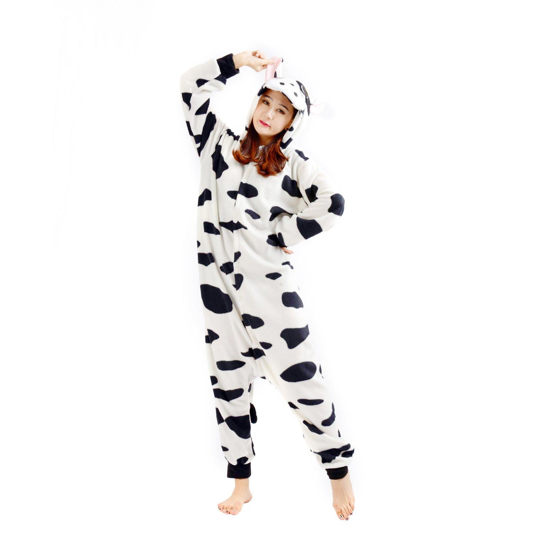 Casa Adult Pajamas - Unisex Fleece Onesie Sleepsuit Animal Onesies Kigurumi Hooded Pyjama Nightwear Costume One-Piece Cows S-XL