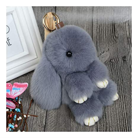 Amazon.com   Rabbit-Gray Bag Charm Ball Handbag Cute Bunny Fur Ring ... 0f7ed8bb9