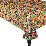 Amscan Tropical Tiki Time Flannel-Backed Table Cover Hawaiian Luau Beach Party Reusable Summer Picnic Tableware Supplies (6 Piece)